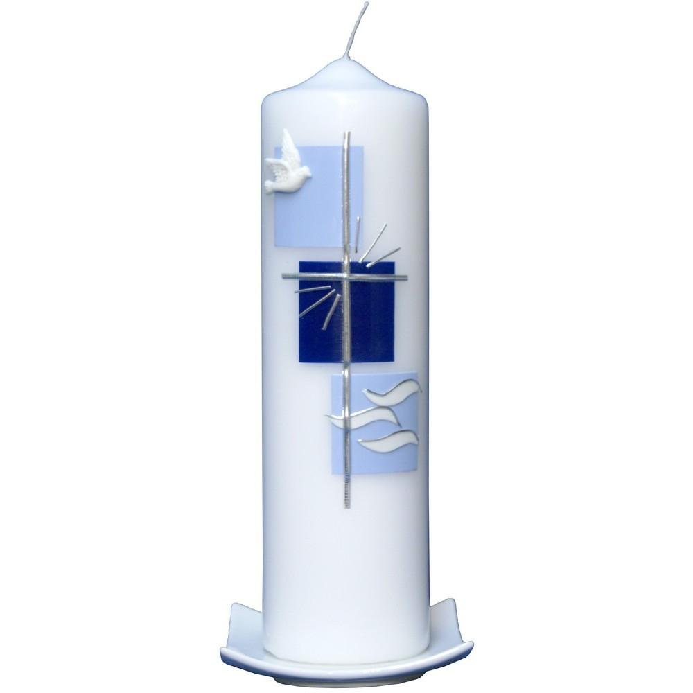taufkerze taube kreuz wasser mit namen und datum hellblau enzian g nstig online kaufen bei. Black Bedroom Furniture Sets. Home Design Ideas