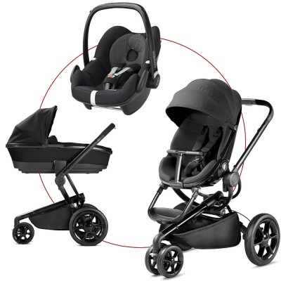Quinny Moodd Travel-Set incl Carrycot & Pebble, Collection 2018 - Black Devotion