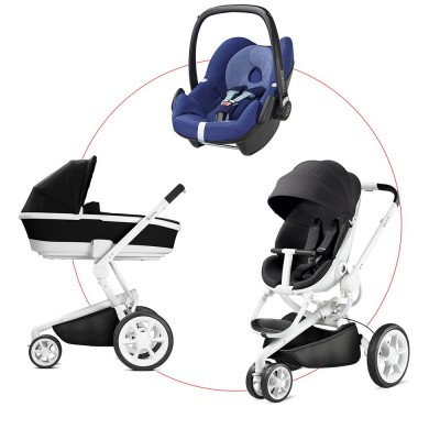 Quinny Moodd Travel-Set incl Carrycot & Pebble, Collection 2018 - Black Irony + River Blue