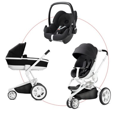 Quinny Moodd Travel-Set incl Carrycot & Pebble, Collection 2018 - Black Irony + Digital Black