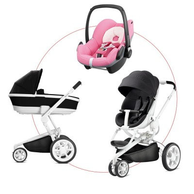 Quinny Moodd Travel-Set incl Carrycot & Pebble, Collection 2018 - Black Irony + Pink Precious