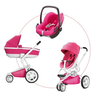 Quinny Moodd Travel-Set incl Carrycot & Pebble, Collection 2018 - Pink Passion + Berry Pink