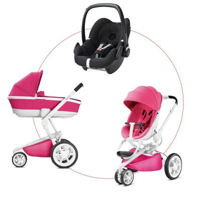 Quinny Moodd Travel-Set incl Carrycot & Pebble, Collection 2018 - Pink Passion + Digital Black