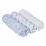 L�ssig Lela Swaddle & Burp Blanket Mulltuch 85x85cm - LIGHT BLUE (3 Stk.)