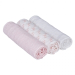 L�ssig Lela Swaddle & Burp Blanket Mulltuch 85x85cm - LIGHT PINK (3 Stk.)