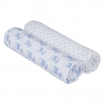 L�ssig Lela Swaddle & Burp Blanket Mulltuch 120x120cm - LIGHT BLUE (2 Stk.)