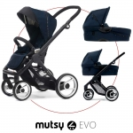 Mutsy EVO Multifunctionstroller incl. Carrycot - Black / NAVY BLUE - 2014