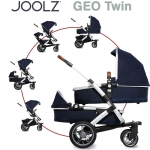 Joolz GEO Earth TWIN mit Sportsitz, Wanne und Wanne/Sitz unten - PARROT BLUE - 2015