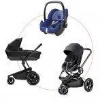 Quinny Moodd Travel-Set incl Carrycot & Pebble, Collection 2018 - Black Devotion + River Blue