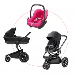 Quinny Moodd Travel-Set incl Carrycot & Pebble, Collection 2018 - Black Devotion + Berry Pink
