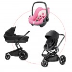 Quinny Moodd Travel-Set incl Carrycot & Pebble, Collection 2018 - Black Devotion + Pink Precious
